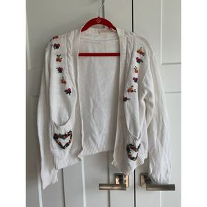 Cottage Core Vintage Embroidered Cardigan Sweater